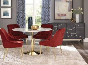 5PC Steele Brass Table with chairs Collection