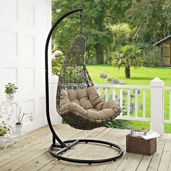 ABATE OUTDOOR PATIO SWING CHAIR WITH STAND IN BLACK MOCHA