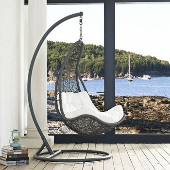 ABATE OUTDOOR PATIO SWING CHAIR WITH STAND IN GRAY WHITE