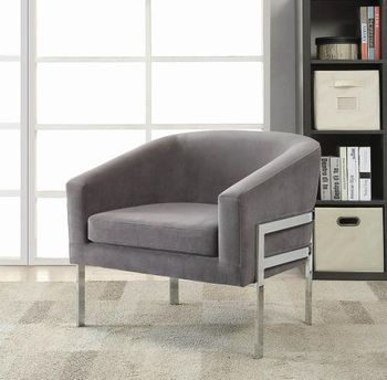 Accent Seating Contemporary Accent Chair in Linen-Like Fabric with Exposed Metal Frame