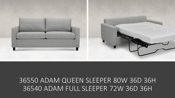 Adam Sofa Full Sleeper Made in USA Custom upholstery Living room