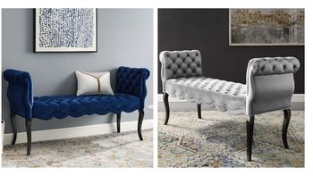 Adelia Chesterfield Style Button Tufted Performance Velvet Bench # 3018