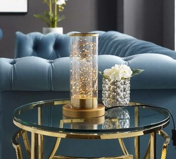 Adore Cylindrical-Shaped Clear Glass And Brass Table Lamp 2931