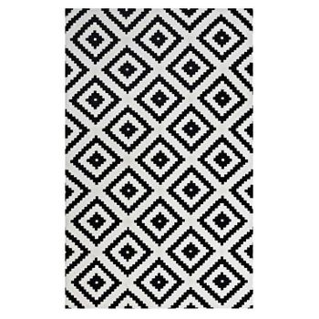 ALIKA ABSTRACT 1004A DIAMOND TRELLIS 5X8 AREA RUG IN BLACK AND WHITE