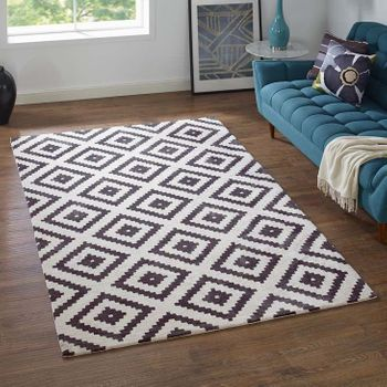 ALIKA ABSTRACT DIAMOND 1004B TRELLIS 5X8 AREA RUG IN CHARCOAL AND IVORY