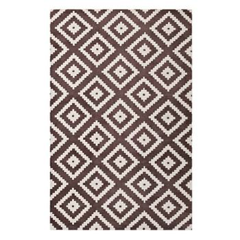 ALIKA ABSTRACT DIAMOND 1004F TRELLIS 5X8 AREA RUG IN IVORY AND BROWN