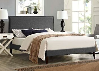 Amaris Queen Fabric Platform Bed with Squared Tapered Legs