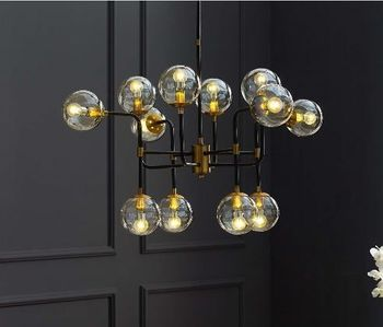 Ambition Amber 2884 Glass And Antique Brass 12 Light Pendant Chandelier