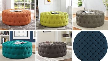 Amour Upholstered Fabric Ottoman 2225