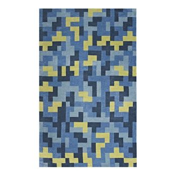 ANDELA INTERLOCKING BLOCK MOSAIC 5X8 AREA 1022A RUG IN MULTICOLORED BLUE AND LIGHT OLIVE GREEN