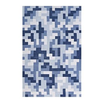 ANDELA INTERLOCKING BLOCK MOSAIC 8X10 AREA 1022D RUG IN LIGHT AND DARK BLUE