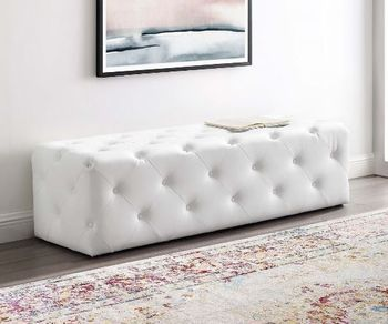 "Anthem 60"" Tufted Button Entryway Faux Leather Bench # 3769"