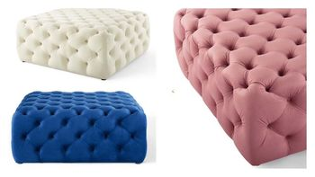 Anthem Tufted Button Large Square Performance Velvet Ottoman