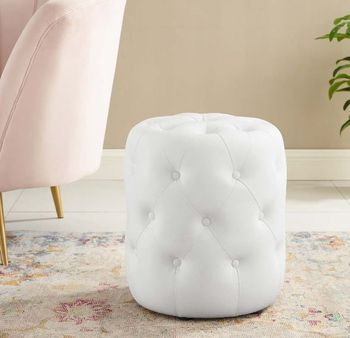 Anthem Tufted Button Round Faux Leather Ottoman # 3777