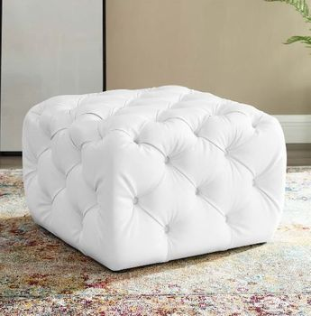 Anthem Tufted Button Square Faux Leather Ottoman # 3775