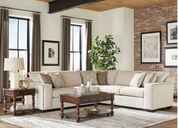 Aria L-Shaped Sectional With Nailhead Oatmeal 508610