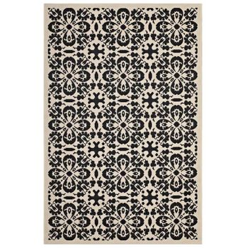 ARIANA VINTAGE FLORAL TRELLIS 5X8 INDOOR AND OUTDOOR AREA 1142E RUG IN BLACK AND BEIGE
