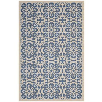 ARIANA VINTAGE FLORAL TRELLIS 5X8 INDOOR AND OUTDOOR AREA 1142C RUG IN BLUE AND BEIGE
