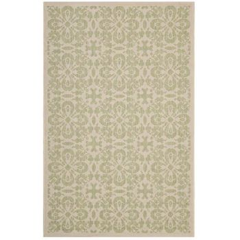 ARIANA VINTAGE FLORAL TRELLIS 5X8 INDOOR AND OUTDOOR AREA 1142B RUG IN LIGHT GREEN AND BEIGE