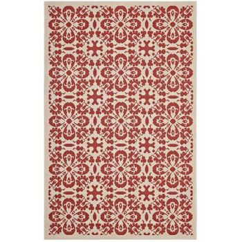 ARIANA VINTAGE FLORAL TRELLIS 5X8 INDOOR AND OUTDOOR AREA 1142D RUG IN RED AND BEIGE