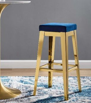 Arrive Gold Stainless Steel Performance Velvet Bar Stool in Gold