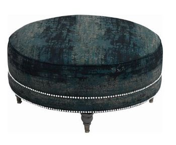 Artemis Round Ottoman With Nailhead Trim Teal