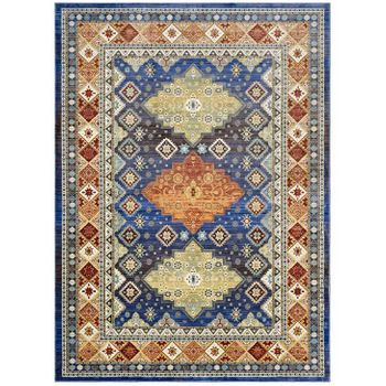 ATZI DISTRESSED SOUTHWESTERN DIAMOND FLORAL 5X8 AREA RUG IN MULTICOLORED