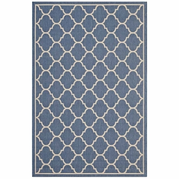 AVENA MOROCCAN QUATREFOIL TRELLIS INDOOR AND OUTDOOR AREA RUG IN BLUE AND BEIGE