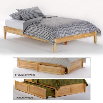 Basic King Platform Bed with 2 storage drawers (P/Short Series)/  10 Year Warranty