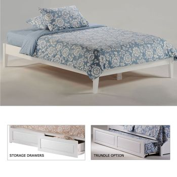 Basic Twin size Platform Bed with 2 storage drawers (P/Short Series) /  10 Year Warranty