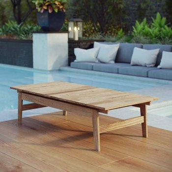 BAYPORT OUTDOOR PATIO TEAK COFFEE TABLE IN NATURAL
