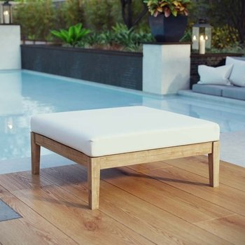 BAYPORT OUTDOOR PATIO TEAK OTTOMAN IN NATURAL WHITE