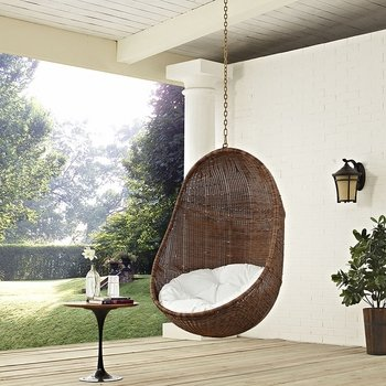 BEAN OUTDOOR PATIO SWING CHAIR WITHOUT STAND IN COFFEE WHITE