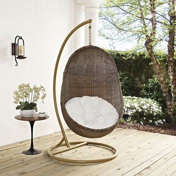 BEAN OUTDOOR PATIO WOOD SWING CHAIR WITH STAND IN COFFEE WHITE