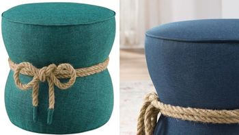 Beat Nautical Rope Upholstered Fabric Ottoman # 3483