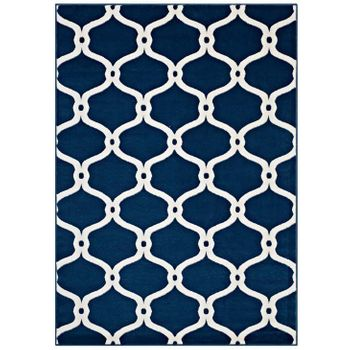 BELTARA CHAIN LINK TRANSITIONAL TRELLIS 5X8 AREA RUG IN MOROCCAN BLUE AND IVORY