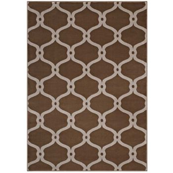 BELTARA CHAIN LINK TRANSITIONAL TRELLIS 8X10 AREA RUG IN DARK TAN AND BEIGE