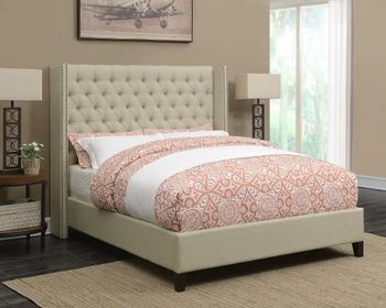Benicia Upholstered Queen Bed with Demi-Wings and Button Tufting by Scott Living