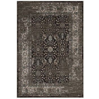BERIT DISTRESSED VINTAGE FLORAL LATTICE 5X8 AREA RUG IN BROWN AND BEIGE