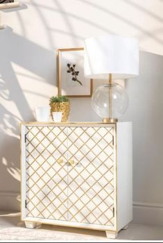 2-Door Accent Cabinet White And Gold # 953286