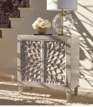 Accent Cabinet With Floral Carved Door White # 953347