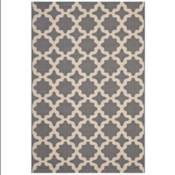 CERELIA MOROCCAN TRELLIS 5X8 INDOOR AND OUTDOOR AREA RUG IN GRAY AND BEIGE