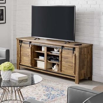 "Cheshire 71"" Rustic Sliding Door TV Stand in Walnut 3489"