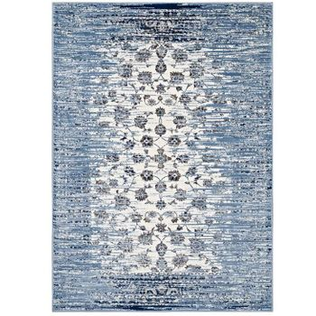 CHIARA DISTRESSED FLORAL LATTICE 1131B CONTEMPORARY 5X8 AREA RUG IN MOROCCAN BLUE AND IVORY
