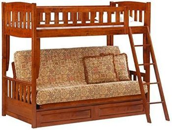 Cinnamon Twin/Futon Bunk With a Set of Drawer -10 year warranty