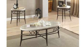 3PC Coffee Table and End Table Aldric Faux Marble Occasional # 83100