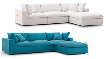 Commix Down Filled Overstuffed 4 Piece Sectional Sofa