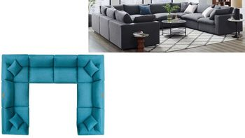 Commix Down Filled Overstuffed 8 Piece Sectional Sofa Set 3363