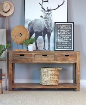Persia 3-Drawer Storage Console Table Natural Sheesham # 952853