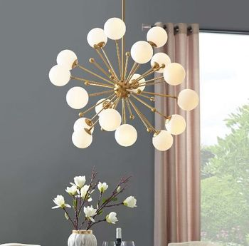 Constellation White Glass and Brass Pendant Chandelier 3077